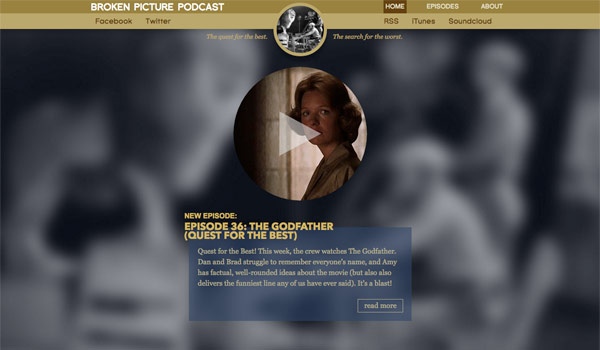 Screenshot of the website for the Broken Picture Podcast.