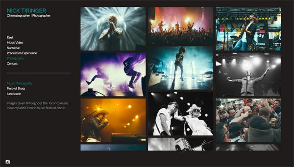 Screenshot of the portfolio website for cinematographer and photographer Nick Tiringer.